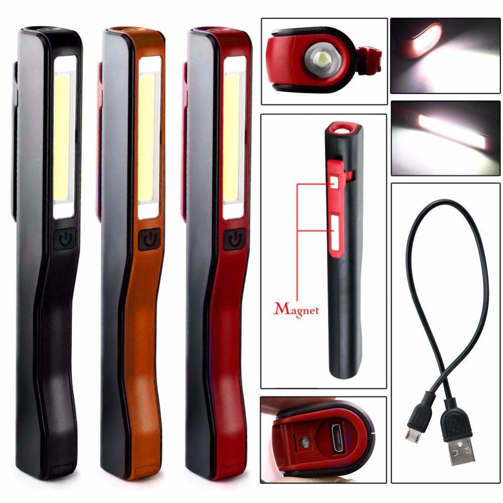 COB LED Pen Light Clip Magnet USB Work Inspection Camping Flashlight Flexible Rechargeable Torch Lamp