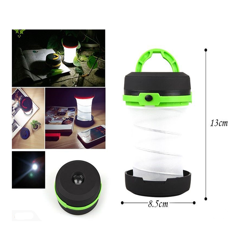 Portable LED Lantern Collapsible Camping Light 3 Modes Lamp Battery Powered Flashlight for Outdoor Home Garden Hiking Emergency Outages